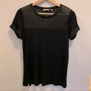 Black t-shirt with sheer details